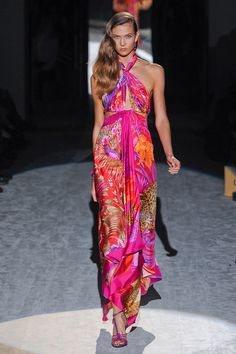 We love the bold pink and purple patterns in the Salvatore Ferragamo Spring collection 2012.