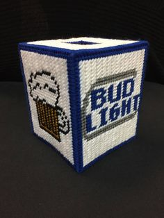 Handmade plastic canvas Bud Light tissue box cover Fits standard size box of tissues-not included Smoke free home