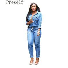 ccaa50992d85 Preself Oversized Denim Jumpsuit Fashion Women Slim Sexy Long Sleeve Plus  Size Pants Spring Autumn Winter