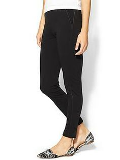 Calvin Klein Ponte Legging With Vegan Leather | Piperlime