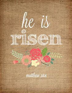 He is risen. Easter printable