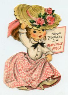 Girl playing dress up vintage greeting card  Hallmark