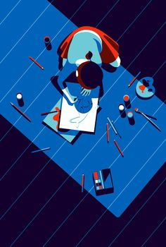 Illustration of a young girl drawing, by Malika Favre Art And Illustration, Illustration Agency, Illustrations And Posters, Graphic Design Illustration, Graphic Art, Art Pop, Arte Peculiar, Posca Art, Art Graphique
