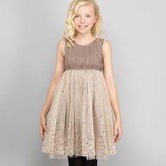 Girl's taupe sequin skirt dress - Party - Girls dresses - Kids -