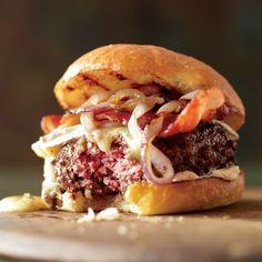 bacon burger on brioche bun