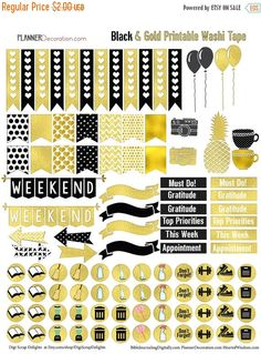 Gold Foil Printable Planner Stickers for Erin Condrin Planner EC Black & Gold…