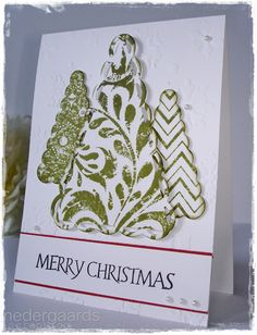Christmas three made with banner die's on stamped cardstock