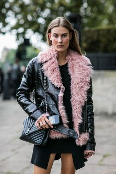 Love the pink fur on this leather jacket!