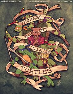 Ninja Turtles - Fan Art Created by Gina Chacon (Saiya Gina) / Find this Artist on DeviantArt Ninja Turtles Art, Teenage Mutant Ninja Turtles, Nija Turtles, Geeks, Ninja Turtle Tattoos, Tmnt 2012, Fan Art, Comic Art, Artwork