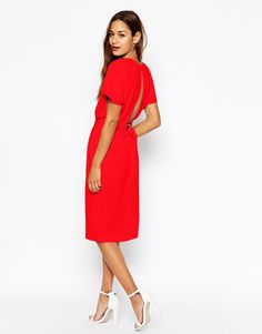 ASOS Wiggle Dress in Crepe with Open Wrap Back and D-Ring