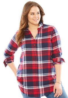 db1282611453e0 Long sleeve flannel shirt - Women's Plus Size Clothing Plus Size Shirts,  Woman Within,