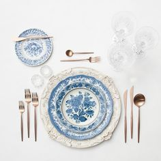 Antique White Florentine Chargers + Blue Garden Collection Vintage China + Rose Gold Flatware + Czech Crystal/Coupe Trios + Antique Crystal Salt Cellars | Casa de Perrin Design Presentation