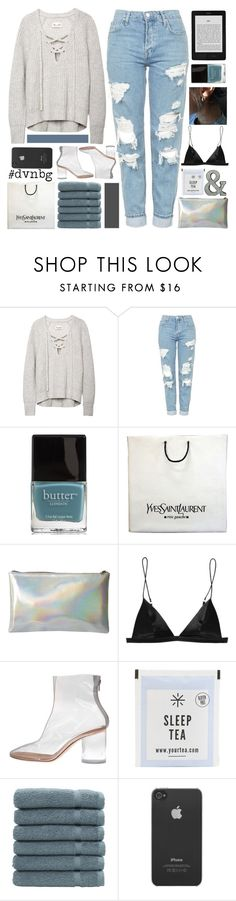"""""""take it slow"""" by inasbaza ❤ liked on Polyvore featuring Topshop, Butter London, Yves Saint Laurent, T By Alexander Wang, Maison Margiela, Linum Home Textiles, Incase, Belle Maison and dvsnbg"""