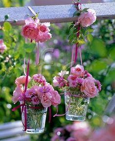 hanging glass flower baskets!