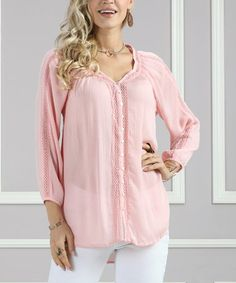 Loving this Peach Eyelet-Accent Button-Up Tunic - Plus Too on #zulily! #zulilyfinds