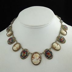 Micromosiac & carved shell cameos necklace set.    SOLD!!