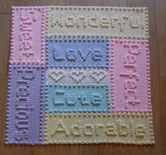 Ravelry: Precious Words Baby Blanket by Peach. Unicorn