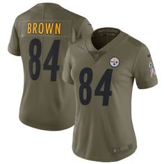 Antonio Brown Pittsburgh Steelers Nike Women's Salute to Service Limited Jersey - Olive