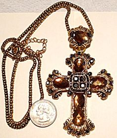 Large Smoky Topaz Rhinestone Cross Necklace Costume Jewelry (Image1)
