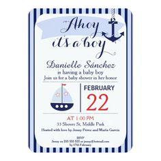 Ahoy It's A Boy Nautical Baby Shower Invitation 11 Cm X 16 Cm Invitation Card