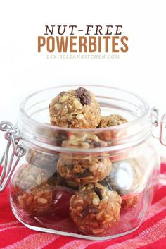 NUT FREE - 1 tsp chia seeds 1 tbsp maple syrup or raw honey cup mix of dried craneberries, golden raisins, and dark chocolate chips (these or these. Paleo Recipes, Whole Food Recipes, Snack Recipes, Cooking Recipes, Free Recipes, Breakfast Recipes, Protein Bites, Energy Bites, Food Energy