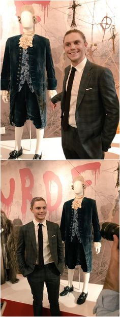 NEW   Evan Peters (beside his Edward Mott Costume in AHS Roanoke) at the AHS Style of Scare Exhibit at the Paley Center in LA. Follow rickysturn/evan-peters