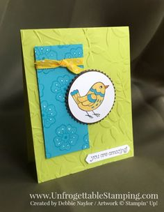 Unfrogettable | Fabulous Friday card featuring the Feathery Friends hostess stamp set by Stampin' Up!