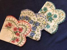 Mid Century UNUSED Floral Handkerchief Vintage Hankies Hankie | Etsy Wedding Handkerchief, Vintage Handkerchiefs, Cushion Inserts, Down Feather, Mid Century Decor, Something Old, Vintage Textiles, Bridal Lace, Cotton Lace