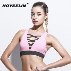 4c0799baa6 Fashion Jewelry 258Women s Sports Bra · HOYEELIN Professional Yoga Fitness  Padded Bras Women s Sexy Deep V-Neck Backless Shockproof Push Up