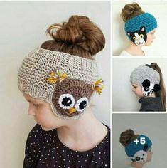 Bandeau fille - Her Crochet Bonnet Crochet, Crochet Baby Hats, Crochet Beanie, Crochet For Kids, Easy Crochet, Free Crochet, Knitted Hats, Knit Crochet, Crochet Headbands