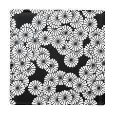 Art Deco flower pattern - white on black. Glass drink coaster.