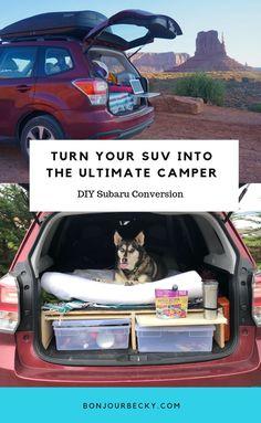 car camping Turn Your SUV Into the Ultimate Camper - DIY Subaru Camper Conversion Van Camping, Camping Gear, Outdoor Camping, Backpacking Gear, Solo Camping, Camping Stove, Hiking Gear, Outdoor Fun, Camping Hacks