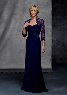 Fancy Sweetheart Chiffon Floor Length Lace Sleeves Ruffles Sexy Mother Of Brides Dress - Mother of the Bride Dresses - Wedding Party Dresses Mob Dresses, Tea Length Dresses, Prom Dresses Blue, Bridesmaid Dresses, Dresses 2014, Mother Of The Bride Gown, Mother Of Groom Dresses, Mothers Dresses, Chiffon Evening Dresses