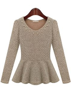 Beige Long Sleeve Round Neck Bead Ruffle Hem Top zł78.42