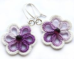 SALE Tatted lace earrings violet tatting flowers by LaceLadyOla, $9.00