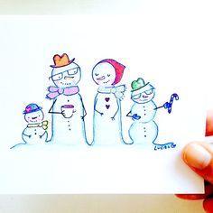 custom portraits by lady lucas #snowmen #portrait #customportrait #familyportrait #watercolor