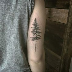 Pine tree tattoo by Caitlin Lindstrom-Milne
