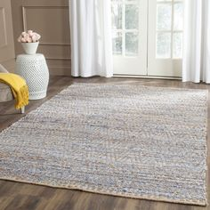 Arria Hand-Woven Natural/Blue Jute Area Rug
