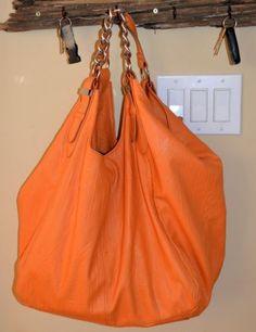 Huge Orange Satchel Tote Purse Shopper Animal Print Lining Chain Strap XLarge | eBay