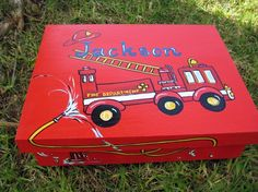 large personalized hand painted fire truck by thepresentplace, $69.00