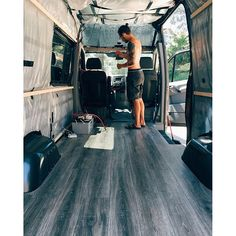 Cody worked so hard today to get our floors in. Floors are done! Next… Bus Life, Camper Life, Diy Camper, Sprinter Van Conversion, Camper Van Conversion Diy, Vans 2016, Ducato Camper, Vw Camping, Camping Store