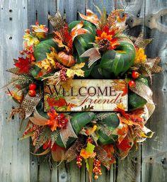 Welcome Friends Wreath Welcome Fall Wreath Fall Wreath by LeWreath