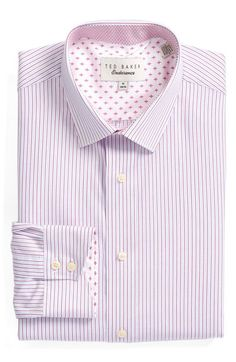 Free shipping and returns on Ted Baker London 'Dalryy' Trim Fit Stripe Dress Shirt at Nordstrom.com. Charming contrast trim defines a handsome dress shirt featuring a measured spread collar and rounded, two-button cuffs.