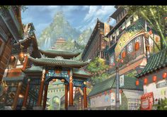 China Town Chinese Red Asia Ancient Tall Lights Archway Roofs Blue Yuffie Sky Music Tile Trees City Clouds Buildings Green Ancient Photos