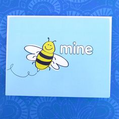 This Be Mine Greeting Card is a super sweet one to give to your honey! My husband and I are sweet and cutesy romantics more so than hot and heavy, so if that's your romantic style too then this is the card for you. Bee Mine Super Sweet Love Greeting Card Cute Humorous Honey I Love You Yellow Sky Blue Wedding Anniversary Be Mine Blank by CuttingItUp