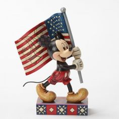 Old Glory ... Mickey Mouse With Flag Figurine
