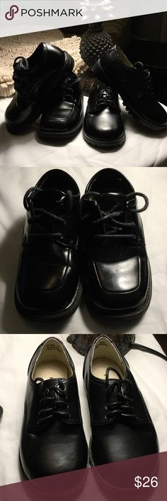 Two pair Boy Dress Shoes Two for the price of one....Both pair are black tie up dress shoes.  One pair is Unlisted size 9 man made material,  the other pair is Deer Run Dress Shoes leather upper size 8 both are in excellent condition. Shoes Dress Shoes