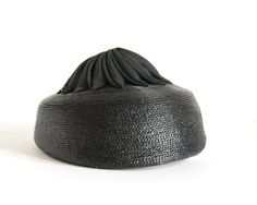 Vintage Pillbox Hat Jan Leslie Black Straw Cocarde 1960s Accessories Ribbonwork Ribbon Jan Leslie Custom Millinery Fashion