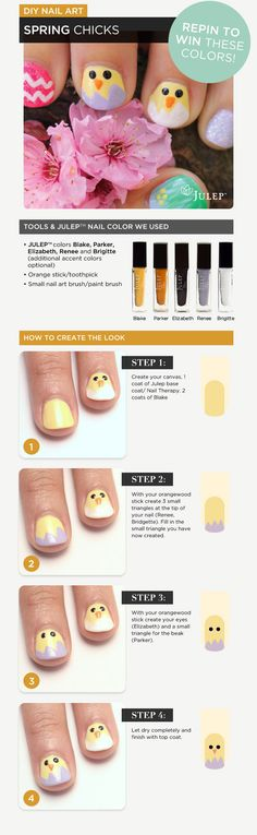 #DIY Nail Art: Spring Chicks. Do you want to win the colors used in this design? Repin to win! Winner will be announced Monday April 9th at 10:00am.