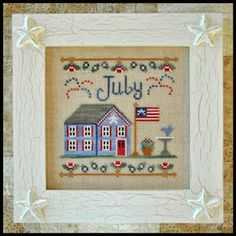 Country Cottage Needleworks cross stitch pattern for July in the monthly cottage series is stitched with Cresecent Colours (Chopped Chives, ...
